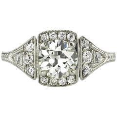 GIA Certified Old European Cut Diamond Platinum Engagement Ring