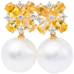 South Sea Pearl Oval Yellow Sapphire Diamond White Gold Dangle Earrings