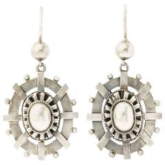 Victorian Bright Sterling Silver Earrings, circa 1870s