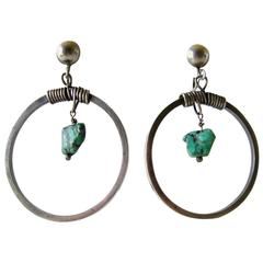 Turquoise Sterling Silver Handmade Modernist Studio Hoop Earrings