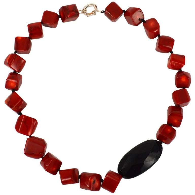 Sea Bamboo Coral Onyx Silver Necklace