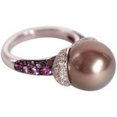 Marion Jeantet Tahitian Pearl Purple Sapphire Diamond Ring
