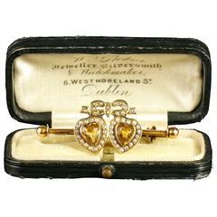 Antique Citrine Double Sweet Heart Pearl Gold Brooch in Original Irish Box