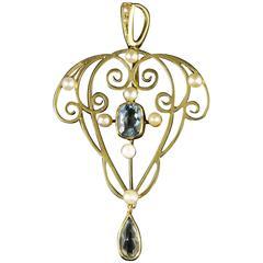 Antique Aquamarine Pearl Gold Pendant 15 Carat Gold