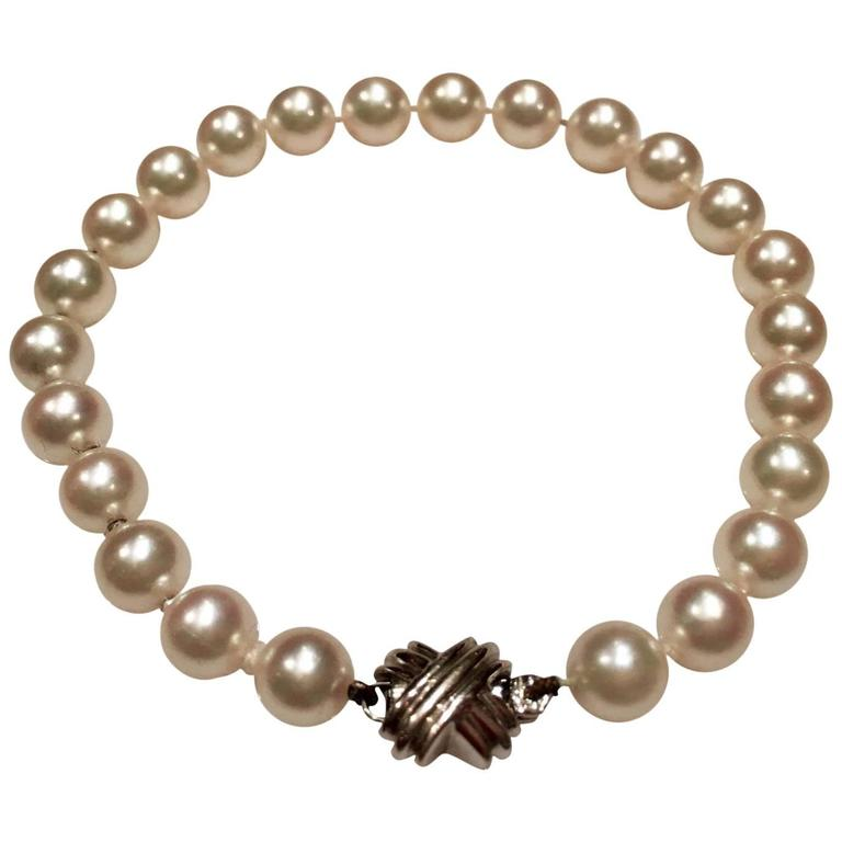 d59c31473 Tiffany & Co. Stunning White Gold Signature X Akoya Cultured Pearl Bracelet  For Sale