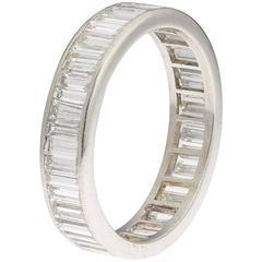 J. E. Caldwell 3.00 Carat Diamond Baguette Platinum Eternity Band Ring