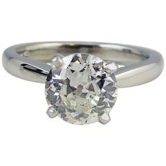 Tiffany & Co. Style Diamond Ring, 1.50 Carat Vintage Old European Cut Solitaire