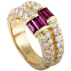 Van Cleef & Arpels Diamond Pave Baguette Ruby Yellow Gold Double Band Ring