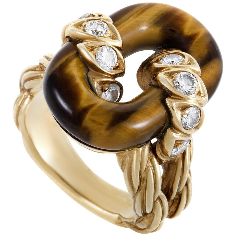 Van Cleef & Arpels Diamond Tiger's Eye Yellow Gold Ring For Sale