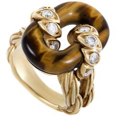 Van Cleef & Arpels Diamond Tiger's Eye Yellow Gold Ring