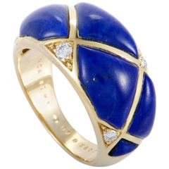 Van Cleef & Arpels Diamond and Lapis Lazuli Yellow Gold Band Ring