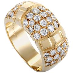 Van Cleef & Arpels Diamond Pave Yellow Gold Band Ring