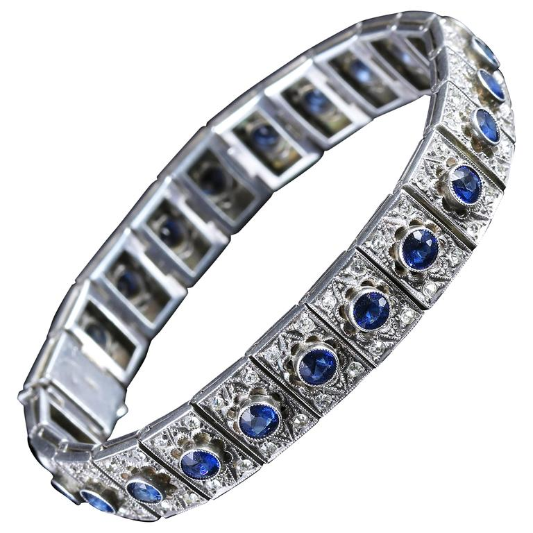 Antique Art Deco Silver Blue White Paste Bracelet, circa 1920