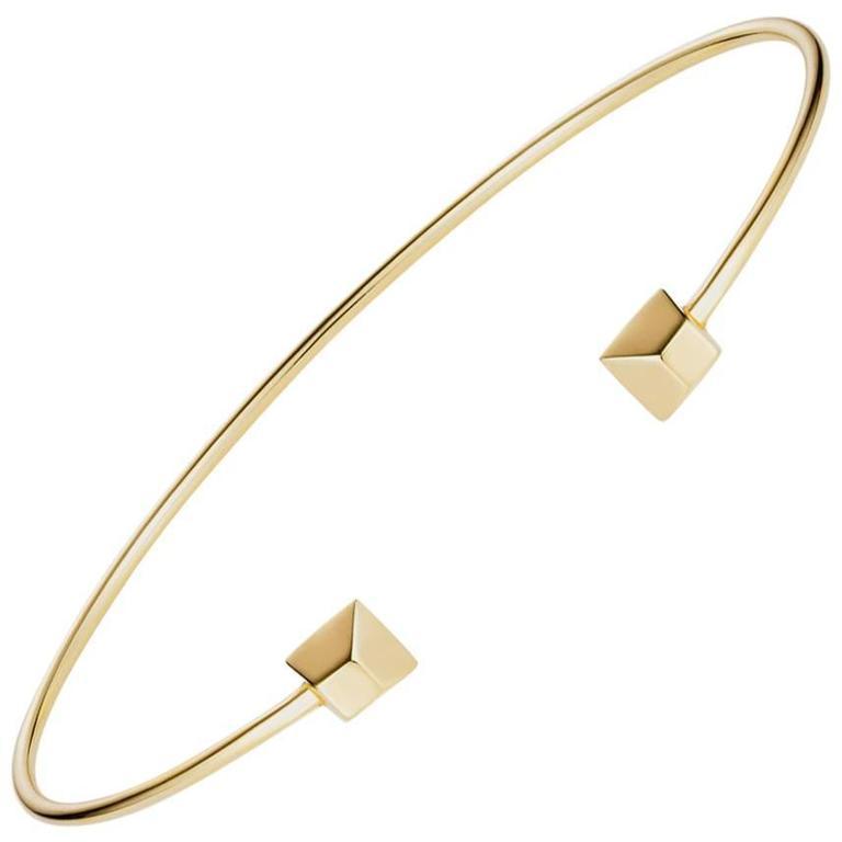 Geometric Gold Pyramid Cuff Bracelet