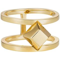 Large Gold Geometric Pyramid Cocktail Ring
