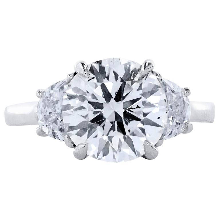 GIA Certified Diamond Three-Stone Engagement Ring