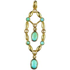 Antique Victorian Turquoise and Pearl Pendant, circa 1880