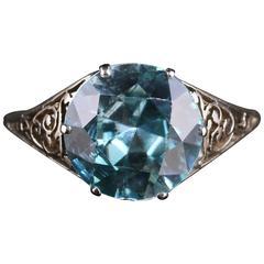 Antique Edwardian Blue ZirconPlatinum Ring