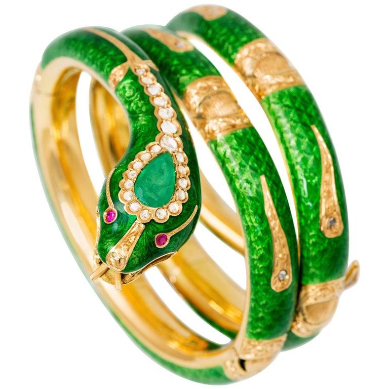 1960s Italian Green Enamel, Diamond, Multi Gem Double Wrap Snake Bracelet