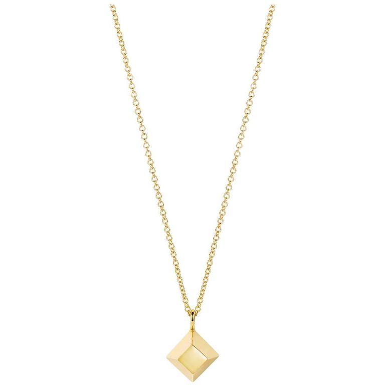 Geometric Gold Pyramid Necklace