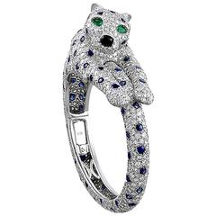 Cartier Sapphire Diamond Platinum Panther Bangle Bracelet