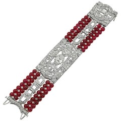 CD Peacock Diamond Red Bead Bracelet
