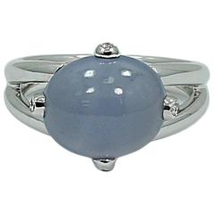 Chalcedony Diamond White Gold Ring