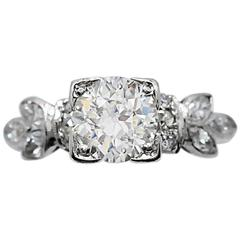 Art Deco 1.15 Carat Diamond Platinum Engagement Ring