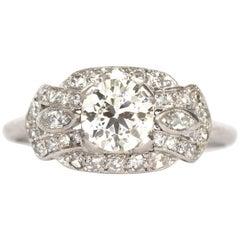 1930s Art Deco .92 Carat Diamond Platinum Engagement Ring