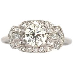 1930s Art Deco .92 Carat Diamond Platinum Engagement Ring