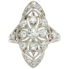 Art Deco Filigree Old European Cut Diamond Platinum Ring