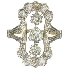 Antique Diamond Yellow Gold Platinum Three-Stone Ring