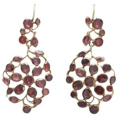 Georgian Floral Flat Cut Garnet Earrings