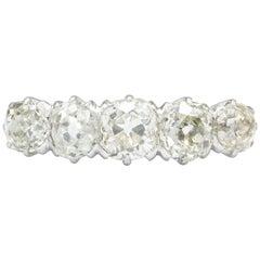 Edwardian Platinum Five-Stone Diamond Anniversary Wedding Band