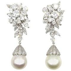1960s Diamond South Sea Pearl Platinum Drop Earrings