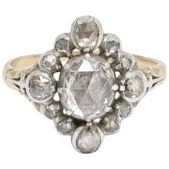 Georgian Cardinal Points Diamond Cluster Ring
