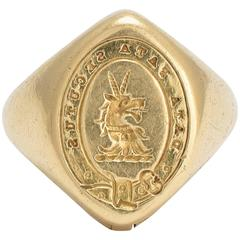 Data Fata Secutus Signet Ring with Concealed Jewelry Box Key