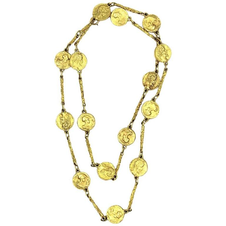 1970s Hammerman Brothers Yellow Gold Coin Necklace