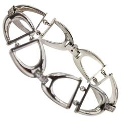 Roberto Coin Cheval Horsebit Diamond White Gold Link Bracelet