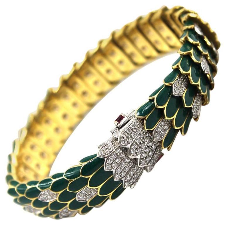 Roberto Coin Green Enamel Diamond Gold Snake Bracelet For