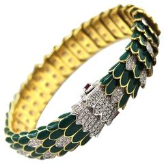 Roberto Coin Green Enamel Diamond Gold Snake Bracelet