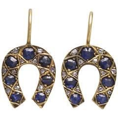 Edwardian Sapphire and Diamond Horseshoe Earrings