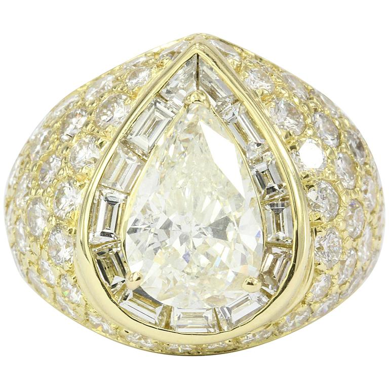 3.51 Carat GIA Certified Pear Shaped Diamond Gold Ring