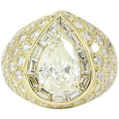 3.51 Carat GIA Certified Pear Shaped Diamond Gold Ring