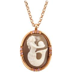 Amedeo Sirenetta Sardonyx Shell Cameo Necklace