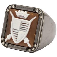 Amedeo Medieval Shield Motif Cameo Diamond Ring