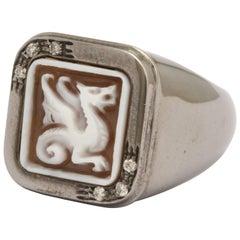 Amedeo Mini Dragon Cameo White Diamonds Ring
