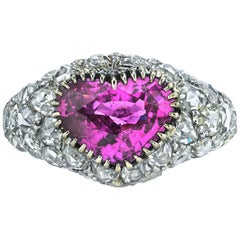 GIA Certified Heart Shaped Pink Sapphire Diamond Gold Ring