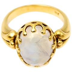 Oval Moonstone Yellow Gold Bezel Ring