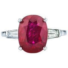 4.31 Carat GIA Certified Ruby Diamond Platinum Ring